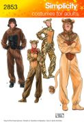 2853 Simplicity Pattern: Adult Gorilla, Lion, Bear and Cat Costumes